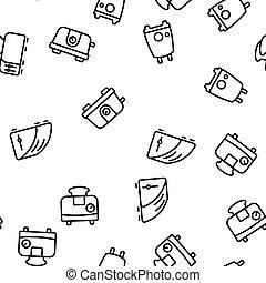 cozinha, padrão, vetorial, seamless, torradeira, ferramenta