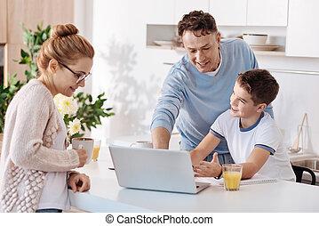 cozinha, pai, dever casa, junto, filho