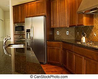 cozinha, passagem, modernos