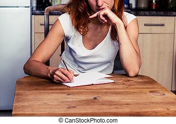 cozinha, pensativo, mulher, dela, escrita