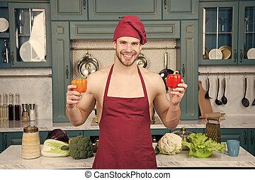 cozinha, pimenta, desgaste, pepper., avental, doce, vegetariano, cozinhar, receita, dieta, cozinheiro, culinário, kitchen., cozinheiro, ingredient., homem, concept., vegetables.