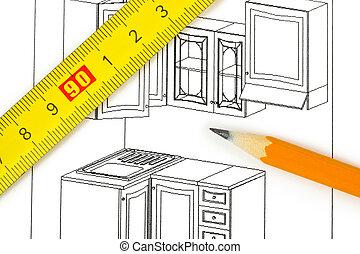 cozinha, plano, isolado, branco, fundo