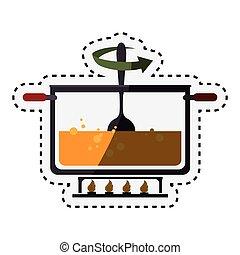 cozinha, pote, cozinhar, ícone
