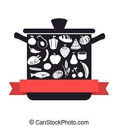 cozinha, pote, utensílio, com, alimento saudável, ícone