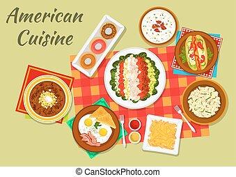 cozinha, pratos, americano, jantar, ícone, típico