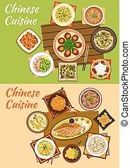 cozinha, pratos, chinês, oriental, assinatura, ícone