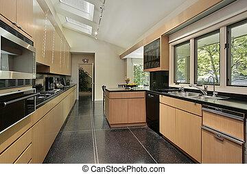 cozinha, pretas, pavimentando, salpicado