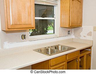 cozinha, remodele, em, progresso