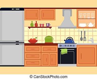 cozinha, sala, com, mobília, jogo
