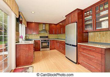 cozinha, sala, interior, com, modernos, marrom, gabinetes, e, luz, tons, assoalho hardwood