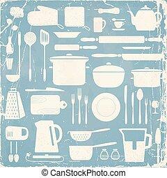 cozinha, silueta, set.