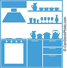 cozinha, silueta