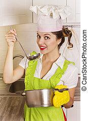 cozinha, sopa, provando, dona de casa, ladle