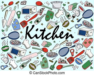 cozinha, vetorial, ilustração