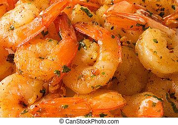 cozinhado, camarões