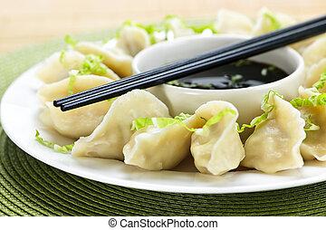 cozinhado, dumplings, e, molho soja