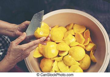 cozinhado, tailandês, mango., processado