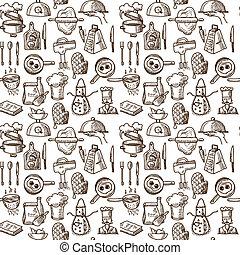 cozinhar, ícones, seamless, padrão
