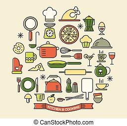 cozinhar, alimentos, e, cozinha, cor, ícones, jogo