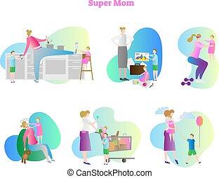 cozinhar, atividades, ocupado, shopping, semelhante, andar., set., cobrança, dormir, exercitar, crianças, vetorial, ilustração, mãe, children., quadro, super, lar