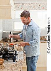 cozinhar, bonito, homem, cozinha