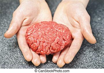 cozinhar, com, carne moída