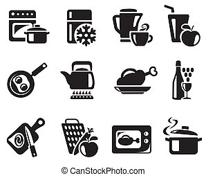 cozinhar, cozinha, ícones