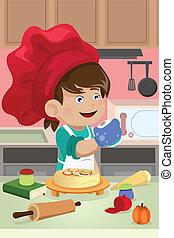 cozinhar, criança, cozinha