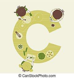 cozinhar, crianças, ilustração, alfabeto, escola
