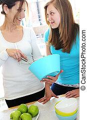 cozinhar, filha, mãe
