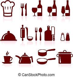 cozinhar, itens, ícone internet, cobrança