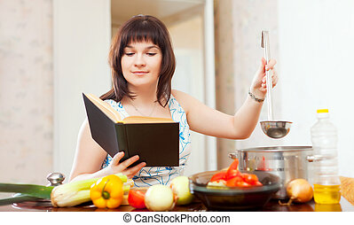cozinhar, livro, dona de casa