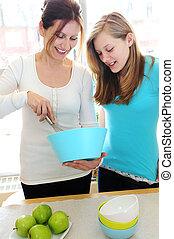 cozinhar, mãe, filha