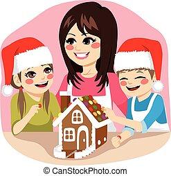 cozinhar, natal, família