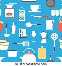 cozinhar, padrão, papel parede, ícones, seamless, vetorial, cozinha