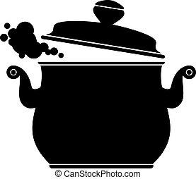 cozinhar, panela, (silhouette)