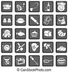 cozinhar, quadrado, ícones