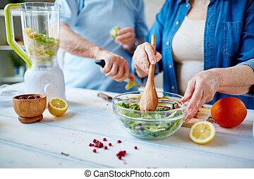 cozinhar, salada