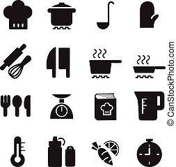 cozinhar, silueta, ícones