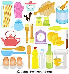cozinhar, tema, assando