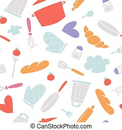 cozinhar, utencils, illustration., cozinha, vetorial, assar, assando, kitchenware, padrão, caricatura, seamless