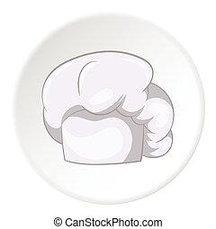 cozinheiro, ícone, estilo, chapéu, caricatura
