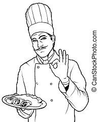cozinheiro, alimento, gesto, gostosa
