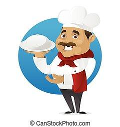 cozinheiro, alimento, servindo