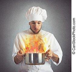 cozinheiro, alimento, soprando, queimado