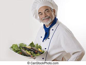 cozinheiro, atraente