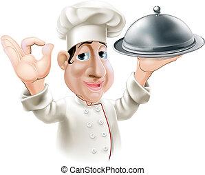 cozinheiro, bandeja porção, caricatura