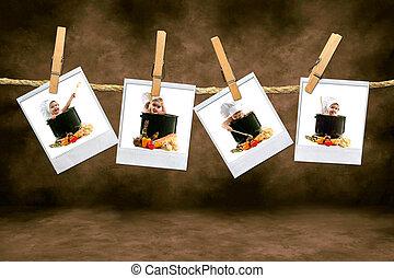 cozinheiro, bebês, ligado, polaroid, película, penduradas, em, um, quarto escuro