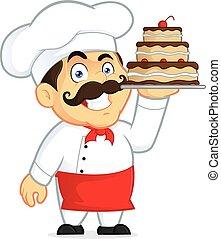 cozinheiro, bolo, chocolate
