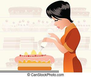 cozinheiro, bolo decora, massa